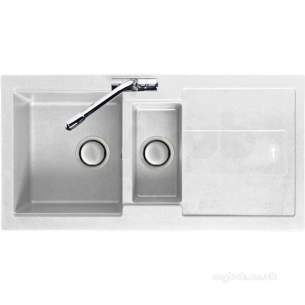 Carron Trade Sinks -  Polar White Bali Kitchen Sink Reversible With Large 1.5 Bowl And Drainer
