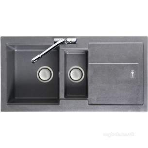 Carron Trade Sinks -  Stone Grey Bali Kitchen Sink Reversible With Drainer And Large 1.5 Bowl
