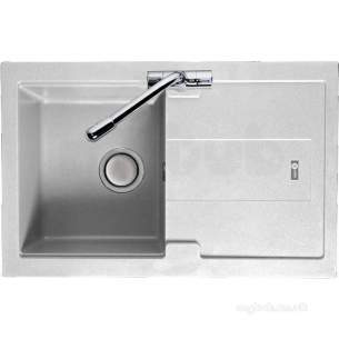 Carron Trade Sinks -  Polar White Bali Kitchen Sink Reversible With Compact Single Bowl And Drainer