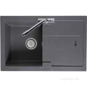 Carron Trade Sinks -  Stone Grey Bali Kitchen Sink Reversible With Drainer And Compact Single Bowl