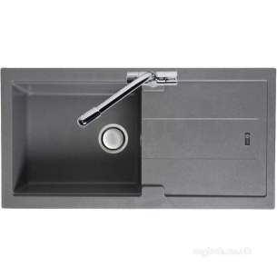 Carron Trade Sinks -  Stone Grey Bali Kitchen Sink Reversible With Drainer And Large Single Bowl