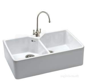 Carron Retail Sinks -  Carron Phoenix Cbc200wh1wca White Belfast Ceramic Double Bowl Kitchen Sink
