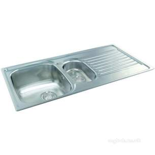Carron Retail Sinks -  Carron Phoenix 101.0174.732 Ss Contessa Kitchen Sink With Left Hand 1.5 Bowl And Drainer