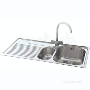 Carron Retail Sinks -  Carron Phoenix 101.0043.073 Ss Lavella Kitchen Sink With Left Hand 1.5 Bowl And Drainer
