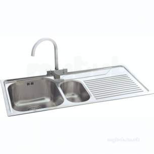 Carron Retail Sinks -  Carron Phoenix 101.0043.080 Ss Lavella Kitchen Sink With Right Hand 1.5 Bowl And Drainer