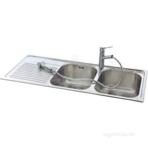 Carron Retail Sinks -  Lavella Kitchen Sink With Left Hand Double Bowls And Drainer