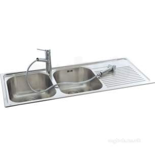 Carron Retail Sinks -  Lavella Kitchen Sink With Right Hand Double Bowls And Drainer