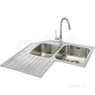 Lavella Corner Kitchen Sink With Left Hand Double Bowl And Drainer Carron