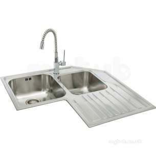 Carron Retail Sinks -  Lavella Corner Kitchen Sink With Right Hand Double Bowl And Drainer