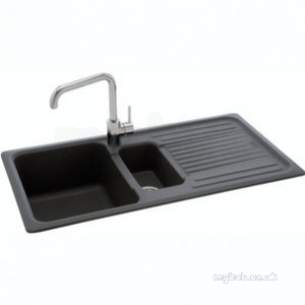 Carron Retail Sinks -  Graphite Summit Reversible Kitchen Sink With 1.5 Bowl And Drainer