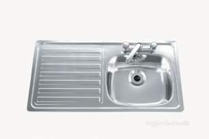 Carron Trade Sinks -  Unisink Two Tap Hole Kitchen Sink With Left Hand Single Bowl And Drain