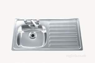 Carron Trade Sinks -  Unisink Two Tap Hole Kitchen Sink With Right Hand Single Bowl And Drain