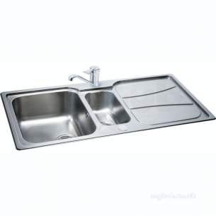 Carron Trade Sinks -  Zeta Linen Reversible Kitchen Sink With Large Square 1.5 Bowl And Drainer