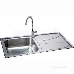 Carron Trade Sinks -  101.0043.154 Ss Zeta Polished Kitchen Sink Large Square Single Bowl Drainer