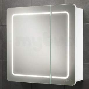 Hib Lighting Cabinets and Mirrors -  Hib 9102200 White Alabama Split Door Bathroom Cabinet Back-lit Illumination