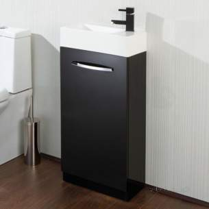 Flabeg Cabinets and Mirrors -  Hib 9501200 Black Cassino Floor Standing Cloakroom Unit Single Door