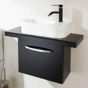 Flabeg Cabinets and Mirrors -  Hib 9501400 Black Cassino Wall Hung Cloakroom Unit Single Door