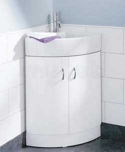 Flabeg Cabinets And Mirrors -  Hib 993.994037 White Denia Curved Corner Wash Basin One Tap Hole