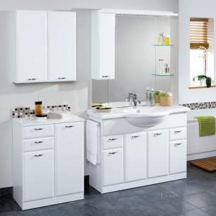 Flabeg Cabinets And Mirrors -  Hib 993.201115 White Denia 1100mm Bathroom Vanity Base Unit Four Doors Two Drawer
