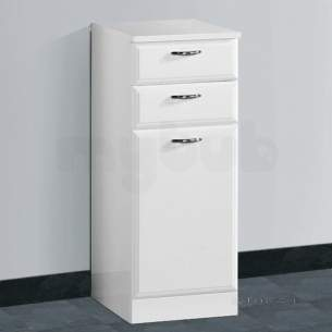 Flabeg Cabinets And Mirrors -  Hib 993.203045 White Denia 320mm Bathroom Vanity Base Unit Two Drawer One Door