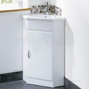 Flabeg Cabinets And Mirrors -  Hib 993.204019 White Denia En Suite Corner Bathroom Vanity Base Unit One Drawer