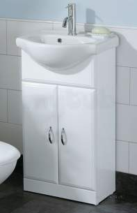 Flabeg Cabinets And Mirrors -  Hib 993.204511 White Denia 450mm Bathroom Vanity Base Unit Two Doors