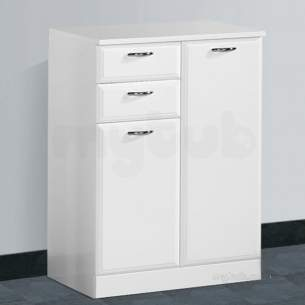 Flabeg Cabinets And Mirrors -  Hib 993.206045 White Denia 600mm Bathroom Vanity Base Unit Two Drawer Two Doors