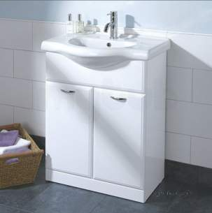 Flabeg Cabinets And Mirrors -  Hib 993.206315 White Denia 650mm Bathroom Vanity Base Unit Two Doors