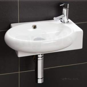 Flabeg Cabinets And Mirrors -  Hib 9110 White Evoke Cloakroom Wall Or Corner Mount Wash Basin Soft Curves 1 Tap Hole