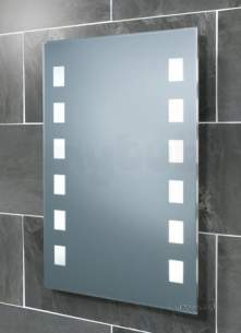 Flabeg Cabinets And Mirrors -  Hib 64123095 Mirrored Halifax Illuminated Wc Mirror With Frosted Back-lit Squares