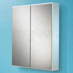 Hib Lighting Cabinets and Mirrors -  Hib 9101700 Aluminium Jersey 650x700mm Double Bathroom Cabinet Door Glass Shelves
