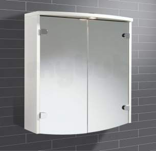 Flabeg Cabinets And Mirrors -  Hib 41100 White Joba Illuminated Bathroom Cabinet With Double Mirrored Doors