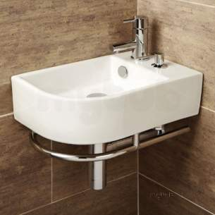 Flabeg Cabinets And Mirrors -  Hib 8919 Chrome/white Malo Africo Corner Wash Basin With Towel Rail And Soap Dispenser