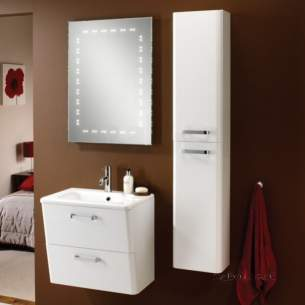 Hib Lighting Cabinets and Mirrors -  Hib 9601100 White Palamas 300x500mm Two Door Tall Storage Wc Unit Soft Close Hinge