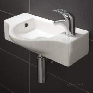 Flabeg Cabinets And Mirrors -  Hib 9330 White Reno Cloakroom Wash Basin One Tap Hole