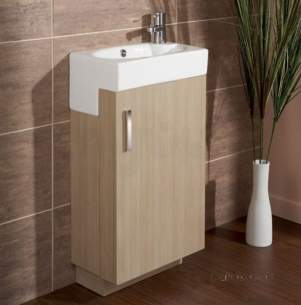 Flabeg Cabinets And Mirrors -  Hib 1380011 Light Oak Revio Athena Cloakroom Unit Floor Standing Single Door