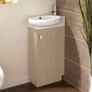 Flabeg Cabinets And Mirrors -  Hib 1380021 Light Oak Revio Evoke Cloakroom Unit Floor Standing Single Door