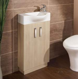 Flabeg Cabinets And Mirrors -  Hib 1380041 Light Oak Revio Reno Cloakroom Unit Floor Standing Two Door