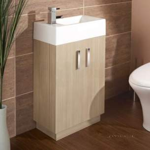 Flabeg Cabinets And Mirrors -  Hib 1380061 Light Oak Revio Metro Cloakroom Unit Floor Standing Two Door