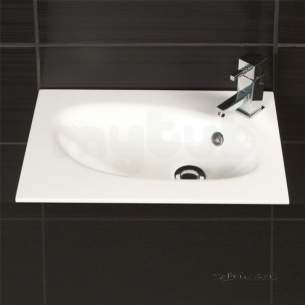 Hib Lighting Cabinets and Mirrors -  Hib 1420190 White Sienna 600mm Wc Wash Basin Mineral Marble One Tap Hole