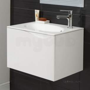 Hib Lighting Cabinets and Mirrors -  Hib 1420142 White Sienna 600x400mm Wc Vanity Unit Soft Close Drawer