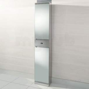 Flabeg Cabinets And Mirrors -  Hib 1043371 Ss Siva Tower Bathroom Cabinet With 2 Mirrored Doors And 1 Storage Drawer