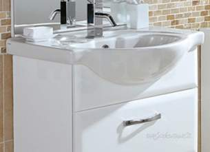 Flabeg Cabinets And Mirrors -  Hib 993.996551 White Sorrento 650mm Wash Basin One Tap Hole