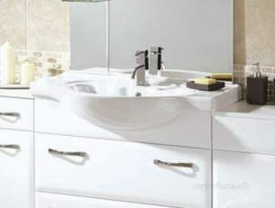 Flabeg Cabinets And Mirrors -  Hib 993.998536 White Sorrento 850mm Drop-in Wash Basin One Tap Hole