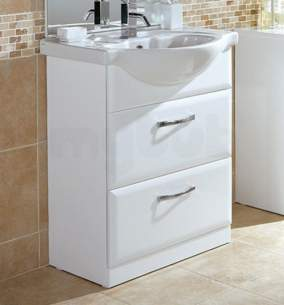 Flabeg Cabinets And Mirrors -  Hib 993.476015 White Sorrento Bathroom Vanity Base Unit For 650mm Wash Basin Two Drawers