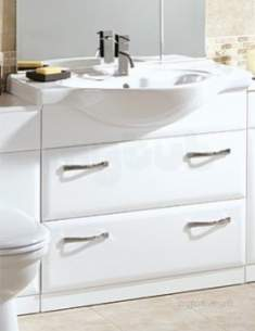 Flabeg Cabinets And Mirrors -  Hib 993.478516 White Sorrento Two Drawer Vanity Base Unit For 850mm Washbasin