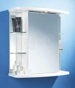 Flabeg Cabinets And Mirrors -  Hib 993.856007 White Vera Illuminated Bathroom Cabinet With Side Shelving