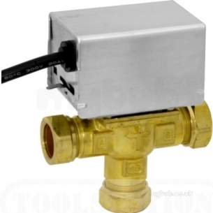 Thornmyson Boiler Spares -  White V4073 Motorised Mid-position Diverter Valve With 22mm Compression