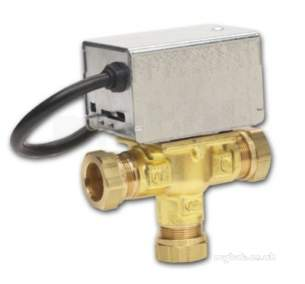 Thornmyson Boiler Spares -  White V4073 Motorised Mid-position Diverter Valve With 28mm Compression