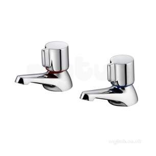 Ideal Standard Brassware -  Ideal Standard B9677aa Chrome Alto Knob Handle Bath Pillar Tap Pair 85mm Spout Reach